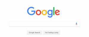 Google's homepage, showing ample whitespace